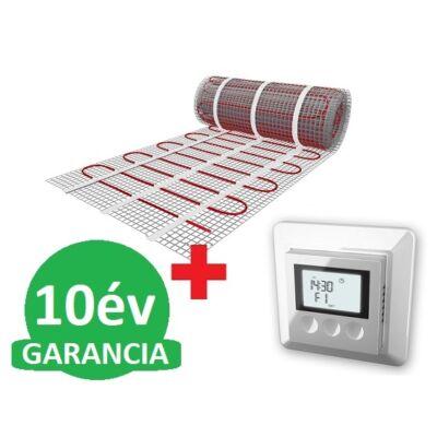 U-HEAT fűtőszőnyeg 2 m2 =  300 W + U-HEAT K12 Digitális óratermosztát padlóhőmérséklet szenzorral