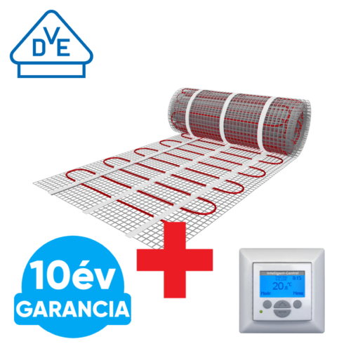 U-HEAT fűtőszőnyeg 10 m2 =  1500 W + Digitális fali termosztát szett