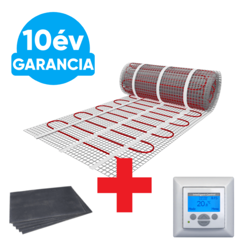 10 m2 U-HEAT fűtőszőnyeg +  10,2 m2 U-HEAT polisztirol szigetelő lap +  MAGNUM Intelligent Control digitális fali termosztát szett