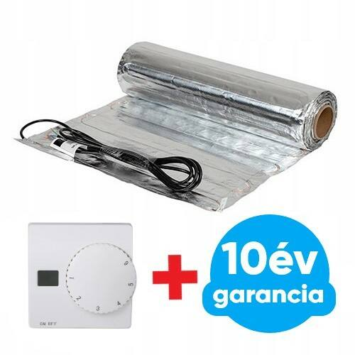 FALCON U-HEAT Alu-Mat elektromos fűtőszőnyeg laminált padlóhoz 3 m2 = 420 Watt (elektromos padlófűtés 140 W/m2) + Manuális fali termosztát padlóhőmérséklet szenzorral szettben