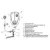 ELDOM Beta 7 fürdőszobai elektromos átfolyós vízmelegítő kádtöltő csappal és tusolófejjel (6,5 kW)
