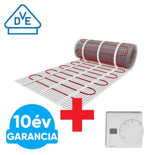 U-HEAT fűtőszőnyeg 5 m2 =  750 W + Manuális fali termosztát padlóhőmérséklet szenzorral szettben