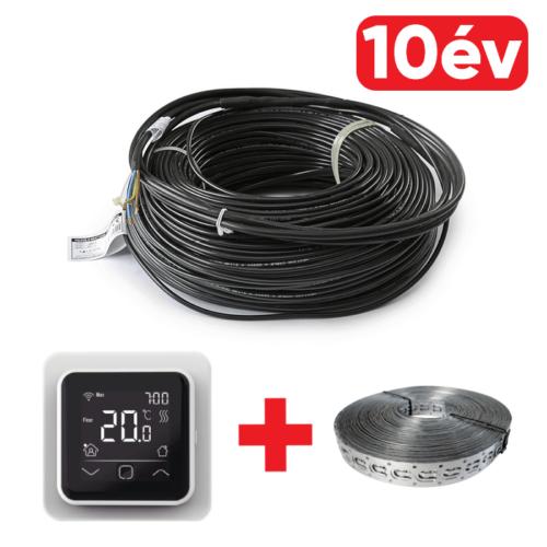 FALCON U-HEAT Cable elektromos fűtőkábel 600 W – 34,4 méter (18 W/m) + WI-FI Control szobatermosztát + Magnum rögzítő fémszalag szettben